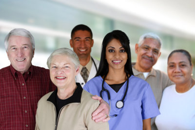a caregiver with a group of people
